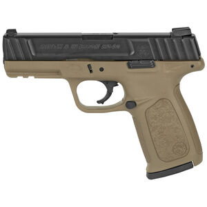 """Smith & Wesson SD40 Semi Automatic Pistol .40S&W 4"""" Barrel 14 Rounds Fixed 3 Dot Sights Stainless Steel Slide Textured Polymer Frame Black Slide/FDE Frame Finish"""