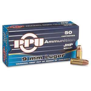 Prvi Partizan PPU 9mm Luger Ammunition 50 Rounds 147 Grain Jacketed Hollow Point