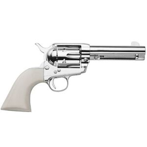 "Traditions Frontier Series 1873 Single Action Revolver .45 LC 4.75"" Barrel 6 Rounds White Grips Nickel SAT73-131"