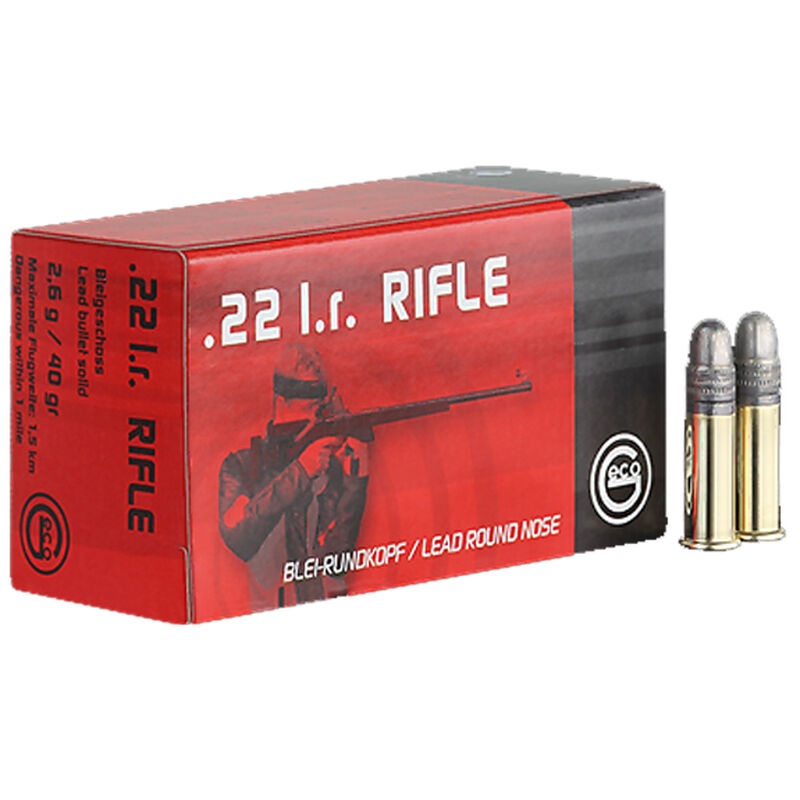 GECO .22 Long Rifle Ammunition 50 Rounds 40 Grain Lead Round Nose