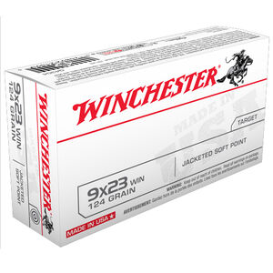 Winchester USA 9x23mm Ammunition 50 Rounds, JSP, 124 Grain