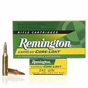 Remington .243 Winchester Ammunition 20 Rounds Core-Lokt PSP 100 Grains