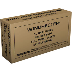 Winchester 9mm Luger Ammunition 50 Rounds Service Grade FMJFN 115 Grains