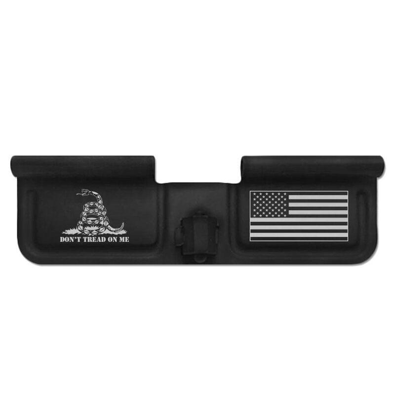Bastion Gear AR-15 Custom Laser Engraved Ejection Port Door Dust Cover Don't Tread On Me Gadsden Flag/US Flag Matte Black