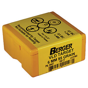 """Berger Target VLD Bullets 6mm Caliber .243"""" Diameter 95 Grain Hollow Point Boat Tail Projectile 100 Per Box 24427"""