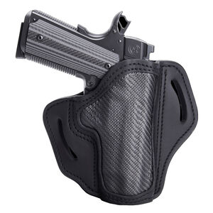 "1791 Gunleather Project Stealth CF-BH1 Multi-Fit OWB Belt Holster for 4""/5"" Full Size 1911 Models Right Hand Draw Carbon Fiber/Leather Black"