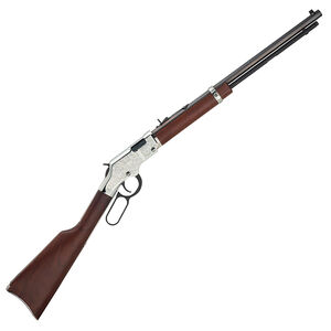 "Henry Silver Eagle Lever Action Rifle .17 HMR 20"" Octagonal Barrel 12 Rounds Nickel Engraved Receiver  Walnut Stock Blued H004SEV"
