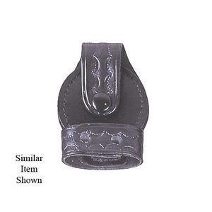 Stallion Leather Bikini Style Standard Handcuff Basket Weave Nickel Hardware Black