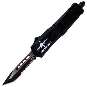 """Templar Knife Small Come and Take It 2.25"""" Serrated Tanto Black SS Blade OTF Push Button Opening Aluminum Handle CATI Flag Black"""