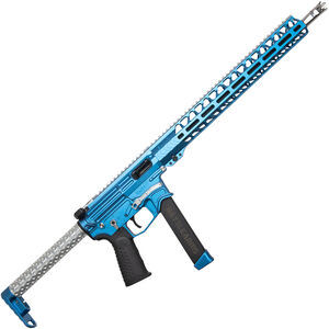 "BAD Battlearms BAD-GS-004 PCC 9mm Luger AR Style Semi Auto Rifle 16"" Barrel 33 Rounds Uses GLOCK Style Mags 15"" Freefloat M-LOK Handguard Fixed Stock Sonic Blue/Silver Finish"