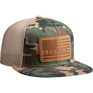 Leupold Leather Flag Logo Trucker Hat OSFA Snap Back Adjustment Woodland Camo / Khaki