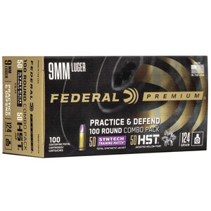 Federal Practice/Defend 9mm Luger Ammunition 100 Round Combo Pack 50 Rounds of 124 Grain FMJ and 50 Rounds of 124 Grain HST JHP 1150fps