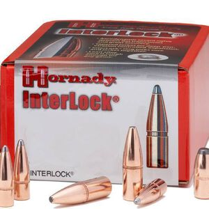 "Hornady .35 Caliber .358"" Diameter 200 Grain InterLock Round Nose Soft Point Cannelured Bullet 100 Count 3515"