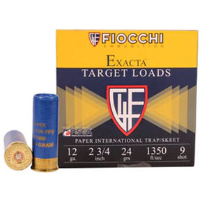 "Fiocchi Exacta Paper Hull International 12 Gauge Ammunition 2-3/4"" #9 24 gr Lead Shot 1350fps"