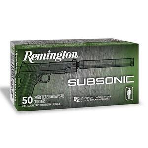 Remington Subsonic 9mm Luger Ammunition 50 Rounds 147 Grain Flat Nose Enclosed Base Projectile