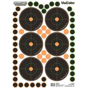 "Champion Traps & Targets VisiColor Adhesive 3"" Bullseye Target 8.5""x11.5"" Pasters 5 Pack"