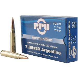 Prvi Partizan PPU Metric 7.65x53 Argentine Ammunition 20 Rounds 174 Grain FMJ BT 2625fps