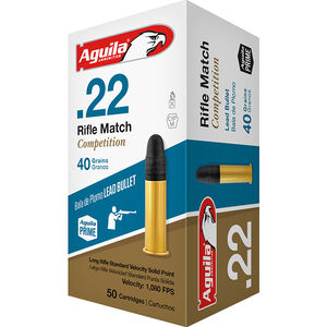 Aguila Rifle Match Competition .22 LR Ammunition 50 Rounds 40 Grain LRN 1080fps
