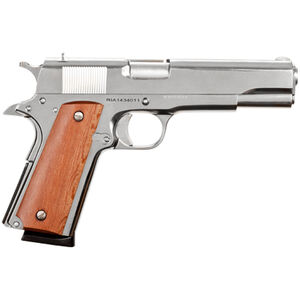 "Rock Island Armory GI Standard FS 1911 Semi Auto Handgun .45 ACP 5"" Barrel 8 Rounds Wood Grip High Polish Nickel Finish 51433"