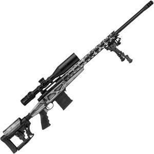 """Howa American Flag Chassis .308 Win Bolt Action Rifle 20"""" Barrel 10 Rounds APC Aluminum Chassis M-LOK Forend Luth-AR MBA-4 Stock Battleworn Gray US Flag/Black Finish"""