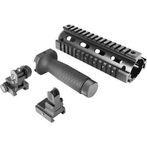 "Aim Sports AR-15 Combo Kit w/ 6.5"" Handguard, Grip, and Flip-Up Sights, Black"