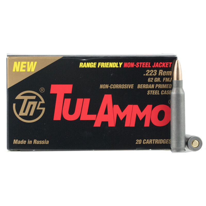 TulAmmo .223 Remington Ammunition 20 Rounds Steel Case Brass-FMJ 62 Grains