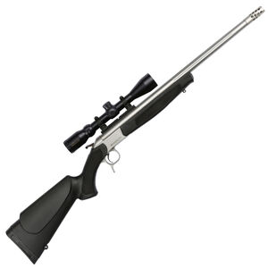 """CVA Scout Outfit Single Shot Break Action Rifle .35 Whelen 25"""" Fluted Stainless Steel Barrel Konus 3-9x32 Scope CrushZone Recoil Pad Synthetic Forend/Stock Matte Stainless Finish"""