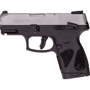 """Taurus G2S Slim 9mm Luger Semi Auto Pistol 3.2"""" Barrel 7 Rounds Single Action with Restrike 3 Dot Sights Thumb Safety Black Polymer Frame Stainless Finish"""