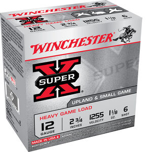 "Winchester Super X Heavy Game Load 12 Gauge Ammunition 100 Round Value Pack 2-3/4"" #6 Lead 1-1/8 Ounce 1225 fps"