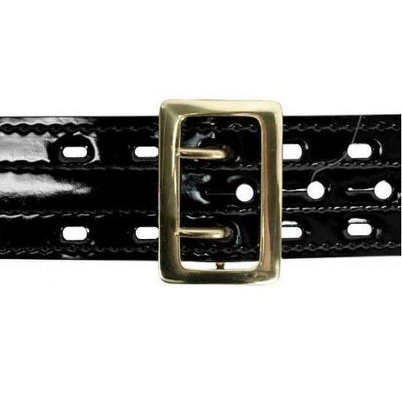 "Safariland Model 87 Suede Lined Belt w/Buckle 2.25"" Hi Gloss Black Brass Fastener Size 34"" 87-34-9B"