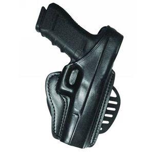 Gould & Goorich B807 Paddle Holster Right Hand Beretta 92 Series Thumb Break Retention Strap Plain Leather Black