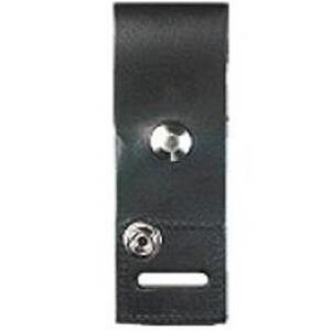 Boston Leather Shoulder Mic Holder Nickel Snap Leather Plain Black Finish 5466-1-N