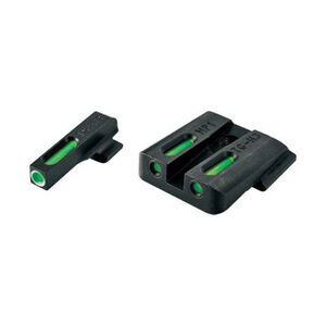 TruGlo TFX Standard Height SIG Sauer #6/#8 Front/Rear Day/Night Sight Set Green Tritium 3-Dot Configuration Front White Focus Lock Ring Square Cut Rear Notch Steel Black
