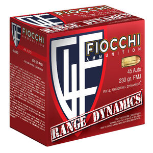 Fiocchi Range Dynamics .45 ACP Ammunition 600 Rounds 230 Grain Full Metal Jacket 860fps