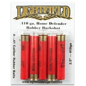 "Lightfield .410 Bore Home Defender Rubber Buck,  Four .406 Diameter Projectiles , 2.5"", 1400 fps,  5 Round Pack, RBHD-410"