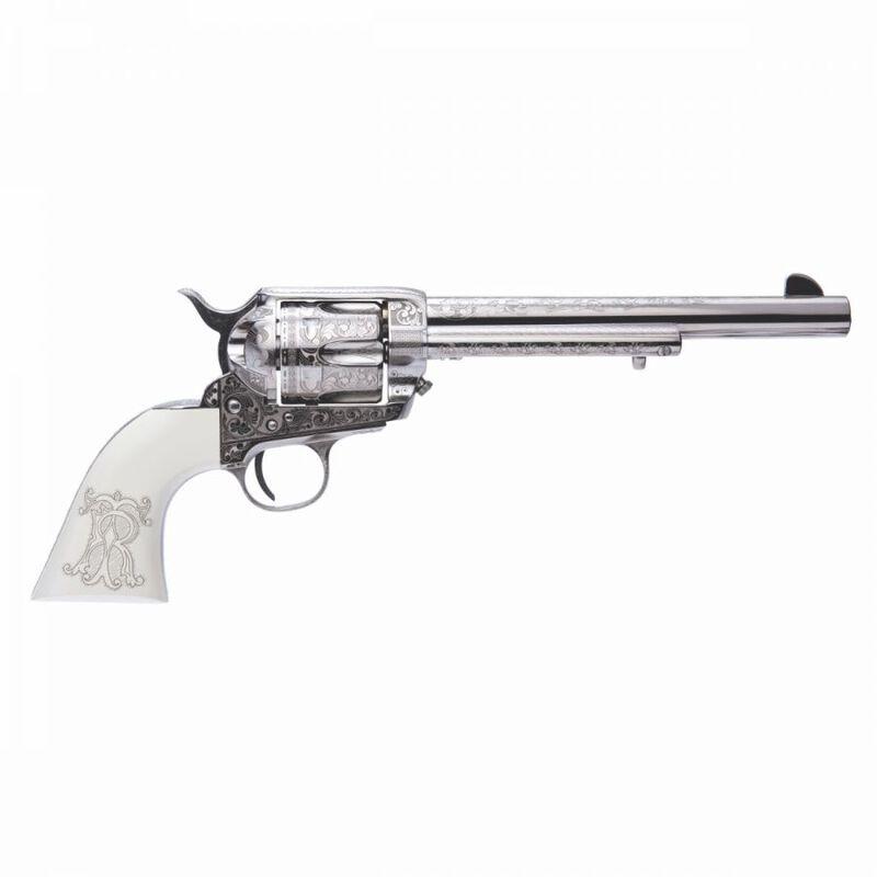 "Cimarron Teddy Roosevelt Laser Engraved Frontier .45 Colt Revolver 7.5"" Barrel 6 Rounds Poly Ivory Grips Nickel Finish"