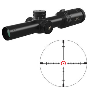 GPO GPOTAC 6x 1-8x24 Riflescope HS(I) CQB Illuminated Reticle 30mm Tube .36 inch Adjustment Fixed Parallax First Focal Plane Black