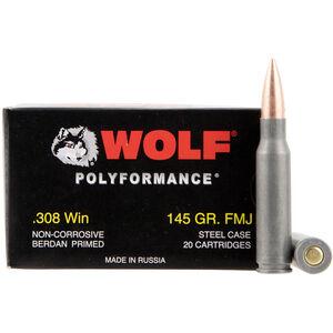 Wolf Polyformance .308 Win Ammunition 145 Grain Bi-Metal FMJ Steel Case 2800 fps