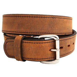 """Versacarry Double Ply Belt 1.5"""" Exotic Water Buffalo Chrome Plated Buckle Size 36 Distressed Brown 502/36"""