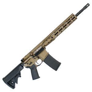 "LWRC DI M-LOK AR-15 Semi Auto Rifle 5.56 NATO 16.1"" Spiral Fluted Barrel 30 Rounds Modular One Piece M-LOK Free Float Rail System Collapsible Stock Burnt Bronze"