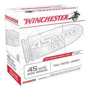 Winchester USA .45 ACP Ammunition 230 Grain FMJ 835 fps