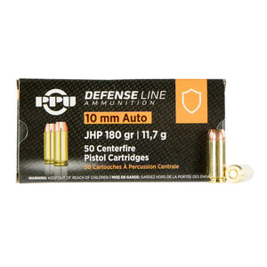 Prvi Partizan PPU Defense 10mm Auto Ammunition 50 Rounds 180 Grain Jacketed Hollow Point 1115fps