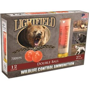 "Lightfield Wildlife Control 12 Gauge Ammunition 5 Rounds 2-3/4"" Double Ball PVC 700fps"