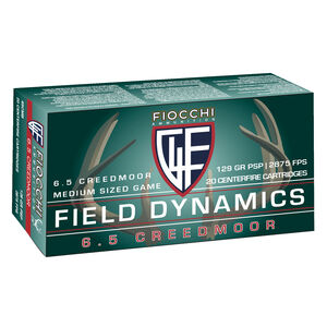 Fiocchi Shooting Dynamics 6.5 Creedmoor Ammunition 20 Rounds 129 Grain Interlock Boat Tail Projectile