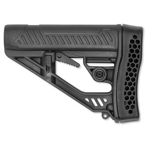 Adaptive Tactical EX Performance AR-15 Adjustable Stock Mil-Spec Diameter Vented Rubber Recoil Pad Polymer Matte Black