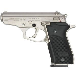 "Bersa Thunder 380 Plus Semi Auto Handgun .380 ACP 3.5"" Barrel 15 Rounds Fixed Sights Checkered Polymer Grips Satin Nickel Finish THUN380PNKL15"