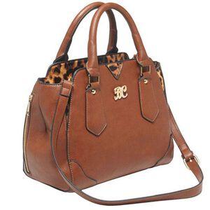 "Bulldog Cases Satchel Style Purse 16""x9.5""x5.5"" Leather Chestnut/Leopard Print Accents BDP-024"
