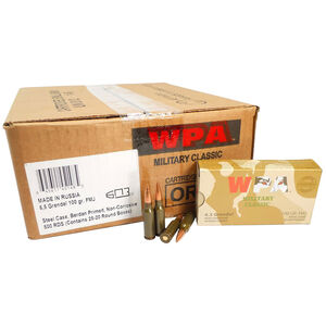 Wolf Military Classic 6.5 Grendel Ammunition 500 Rounds 100 Grain Bi-Metal FMJ BT 2707fps