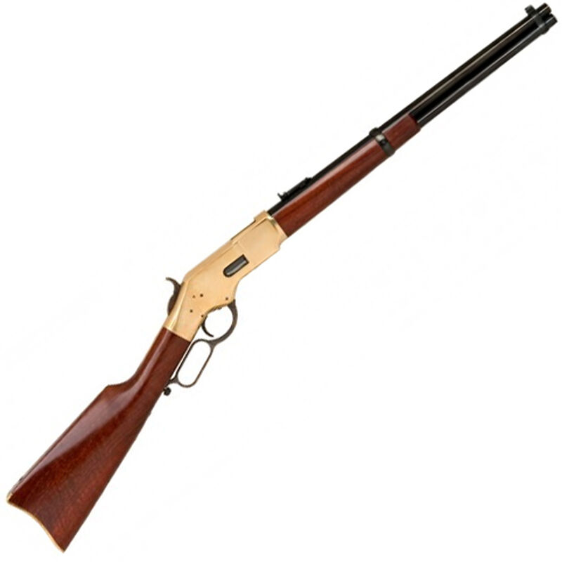 """Cimarron 1866 Yellowboy Carbine Lever Action Rifle 38 Special 19"""" Barrel 10 Rounds Brass Receiver Wood Stock Blued Finish CA220AS1"""