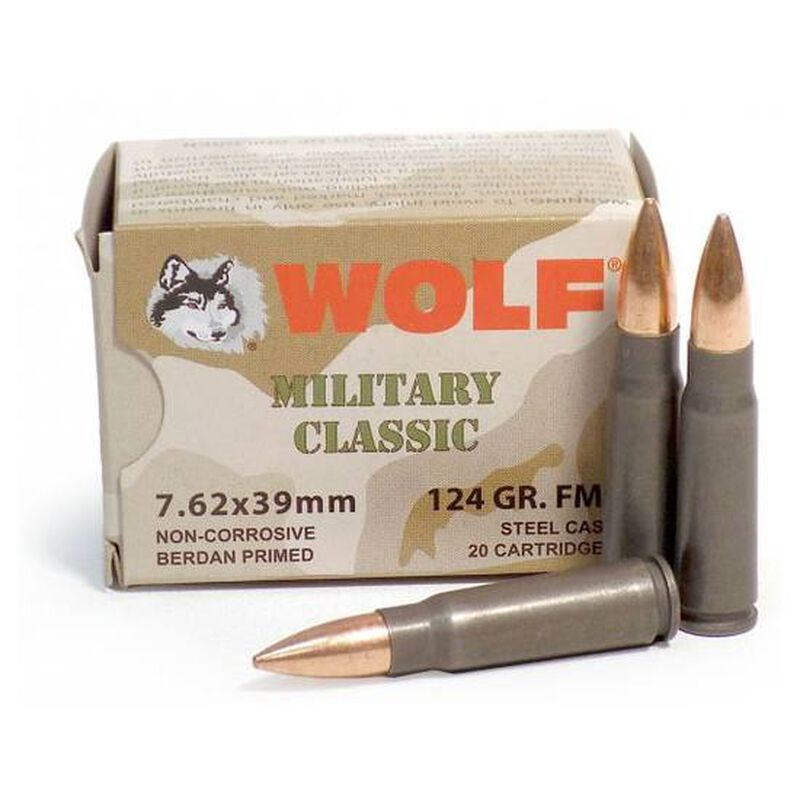 Wolf Military Classic 7.62x39mm Ammunition 1000 Rounds 123 Grain Bi-Metal FMJ Steel Cased 2330 fps
